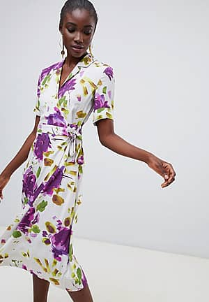Lyall floral print wrap shirt dress