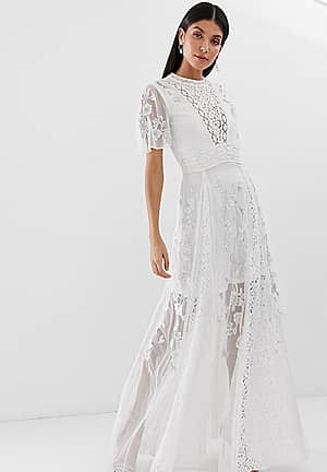 embroidered lace front maxi dress with panel inserts in white