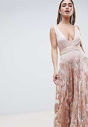 Prom Embellished Maxi Dress in Iridescent Sequins