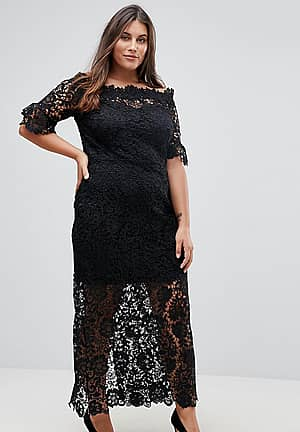 Off Shoulder Crochet Maxi Dress With Frill Sleeve