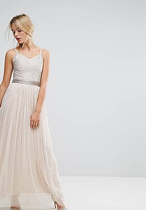 Maxi Cami Strap Dress with Tulle Skirt and Embellished Upper
