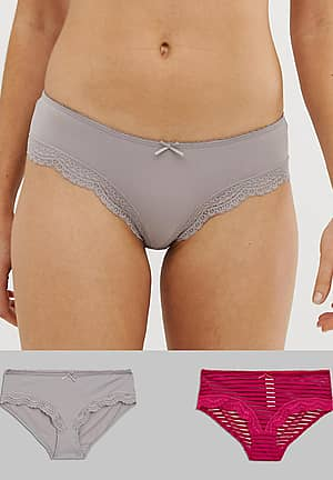 Ida 2 pack hipster brief in red and grey