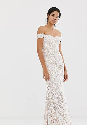 all over lace bardot maxi dress in white
