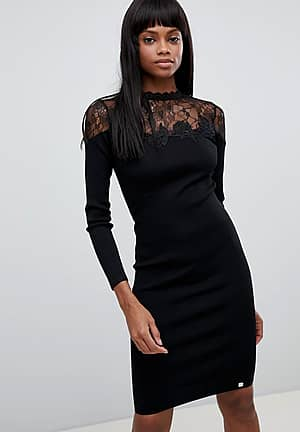 Lace Detail Long Sleeved Knitted Midi Dress