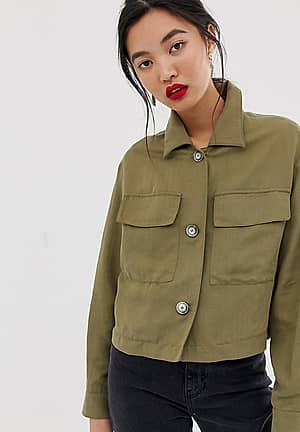pocket front crop shacket