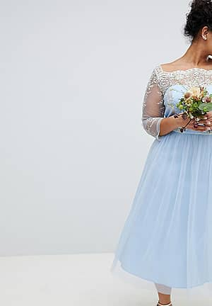 Bardot Neck Midi Dress with Premium Lace and Tulle Skirt