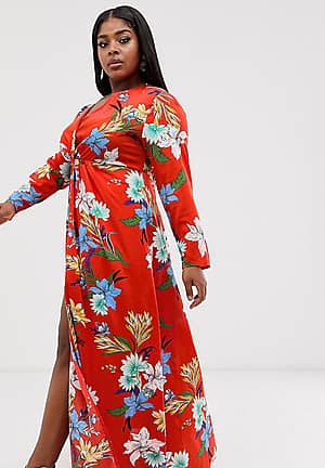 maxi dress with twist front in red floral