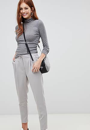 tapered leg pull on trousers in grey
