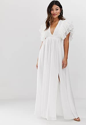 premium plunge front maxi dress with shoulder detail in white