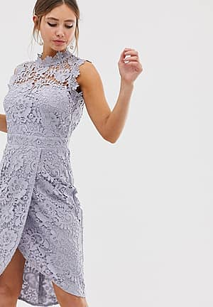 lace wrap midi pencil dress in oyster grey