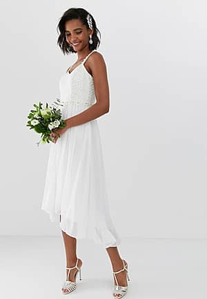 bridal pleated midi dress with embellished belt
