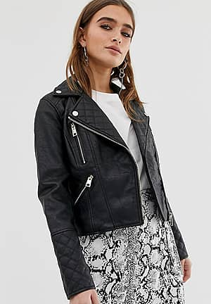 quilted faux leather jacket in black