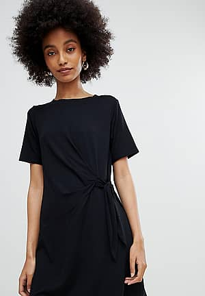 Black Ruched Side Jersey Tunic Dress