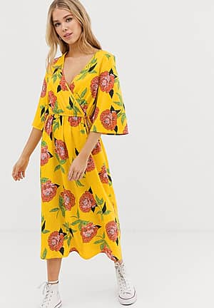 wrap midi dress with flared sleeve in yellow floral