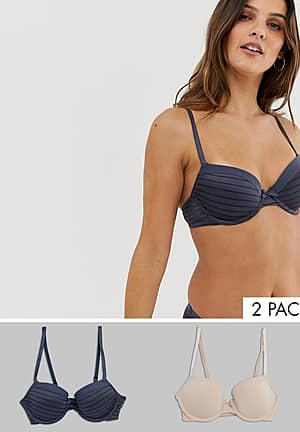 Louise 2 pack t-shirt bra in charcoal and blush