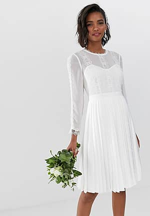 bridal lace trim pleated skirt dress