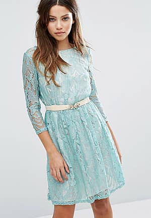 Long Sleeve Belted Lace Dress