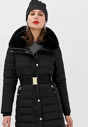 Mid Padded Jacket with faux fur hood in black