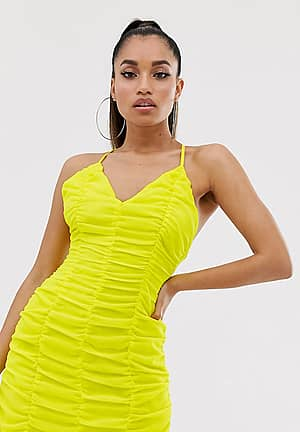 bodycon dress in ruched yellow chiffon
