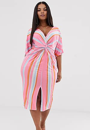 twist front midi dress in stripe