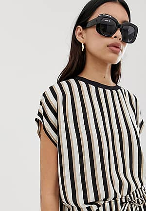 relaxed fit co-ord t-shirt in mono stripe