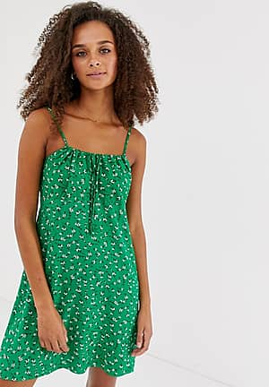 tie gather front dress in green