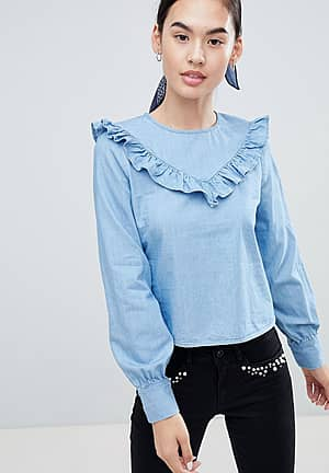 Siga Frill Front Denim Blouse