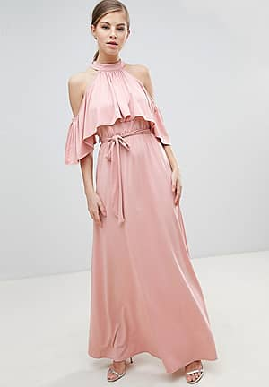 Belted Maxi Dress With Frill Overlay