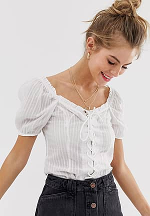 puff sleeeve blouse in off white
