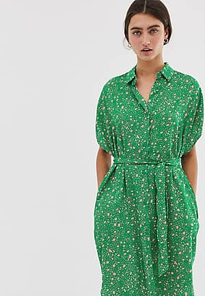 dot print drop shoulder shirt dress in pink and green