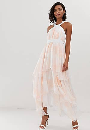 floral tiered chiffon maxi dress