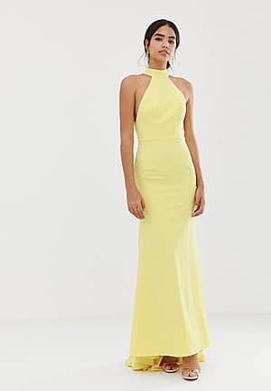 high neck trophy maxi dress with open back detail in lemon