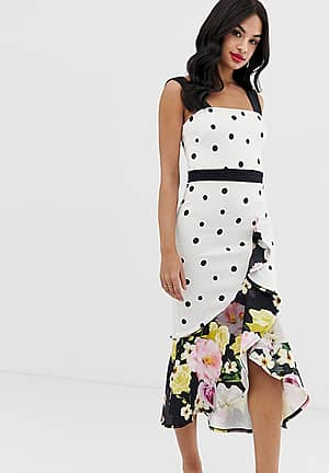 exclusive frill front midi dress in mixed polka floral print