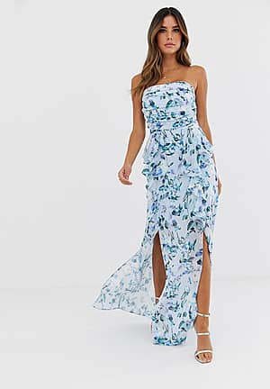 floral bandeau maxi dress with frill detail