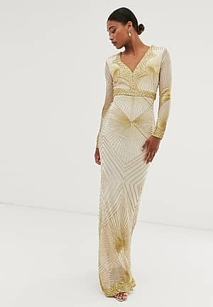 long sleeve all over embellished patterned maxi dress