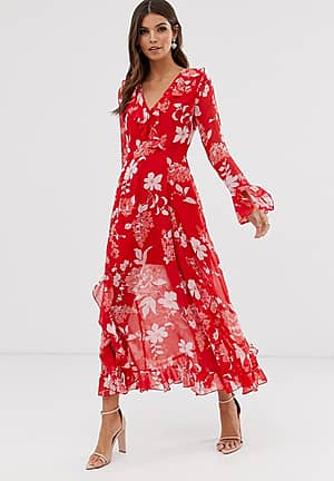 wrap maxi dress with frills in red floral print