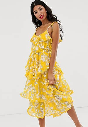 tiered frill midi dress in yellow floral