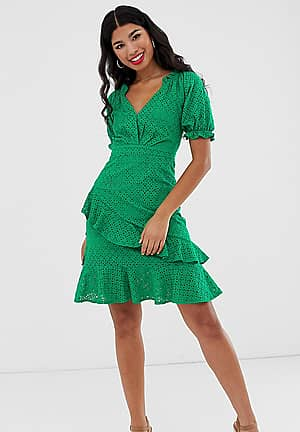 milkmaid anglaise mini dress in green