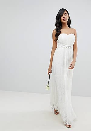 Bridal Multiway Allover Lace Maxi Dress with Sash Belt
