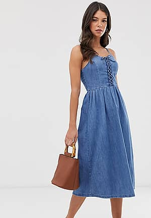 denim midi dress in light blue