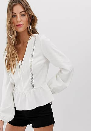 linen blouse with lace insert in ivory