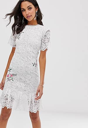 lace midi dress with floral embroidery