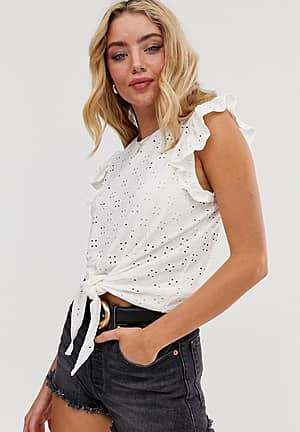 broderie frill sleeve tie front blouse in white