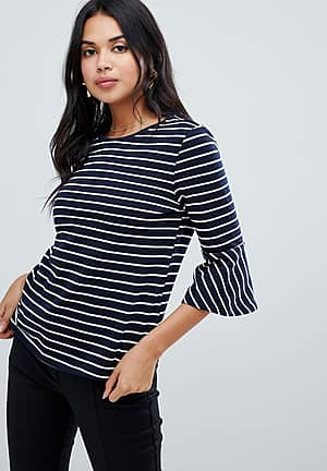 Stripey fluted sleeve top