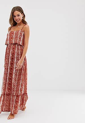 tie shoulder beach maxi dress in rust snake print