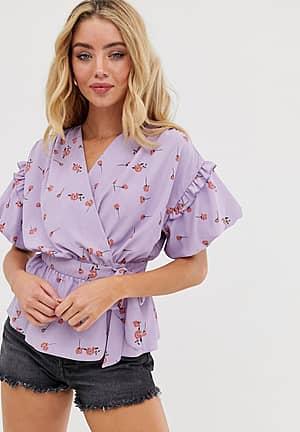 wrap top with ruffle detail in ditsy floral print