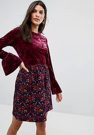 Crushed Velvet Dress with Jaqcuard Floral Skirt