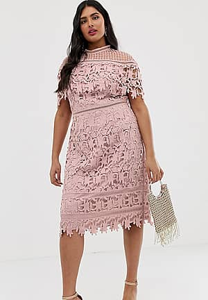 high neck all over lace pencil dress in blush pink