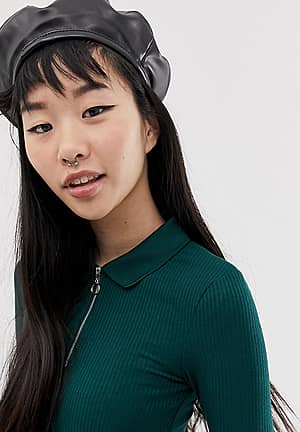 polo neck top with zip in green