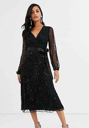 embellished bridesmaid midi dress with wrap detail in black